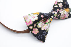 Black Floral Cat & Dog Bow Tie Collar
