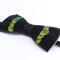 Black & Green Feather Bow Tie