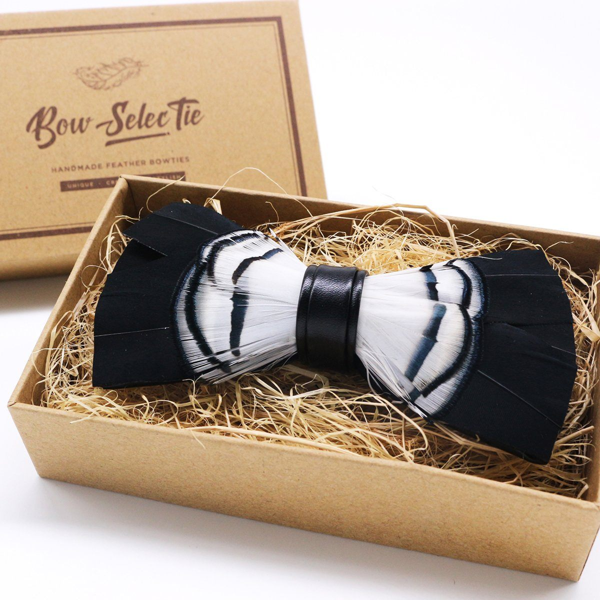 Black & White Feather Bow Tie