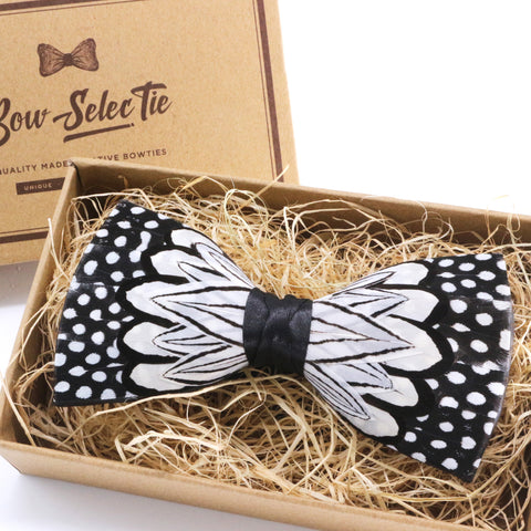 Black & White Polka Dot Feather Bow Tie