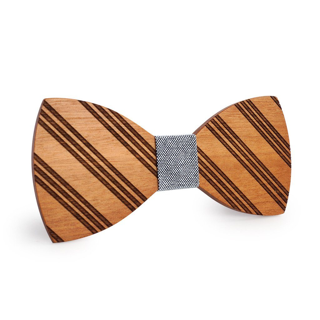 Black & White Thin Striped Wooden Bow Tie