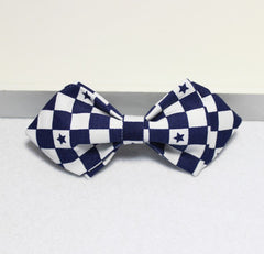 Blue & White Checked Boys Bow Tie - Bowties - 1