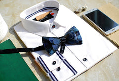 Blue Feather Bow Tie - Bowties - 3