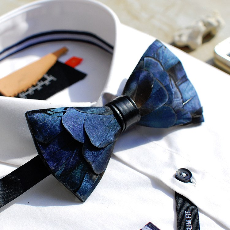 Blue Feather Bow Tie - Bowties - 1