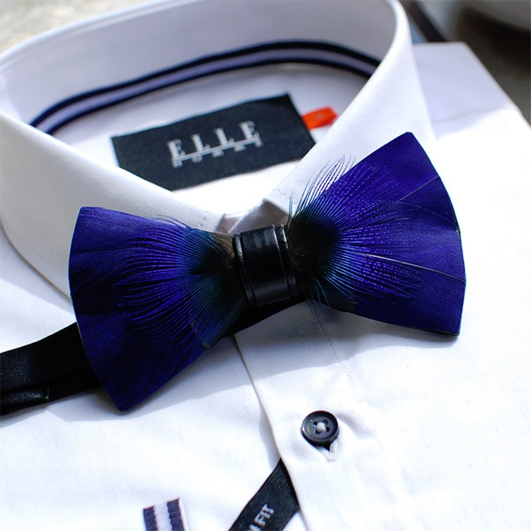 Thin Blue Feather Bowtie - Bowties - 1