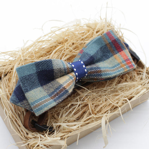 Blue Flannel Cat & Dog Bow Tie Collar