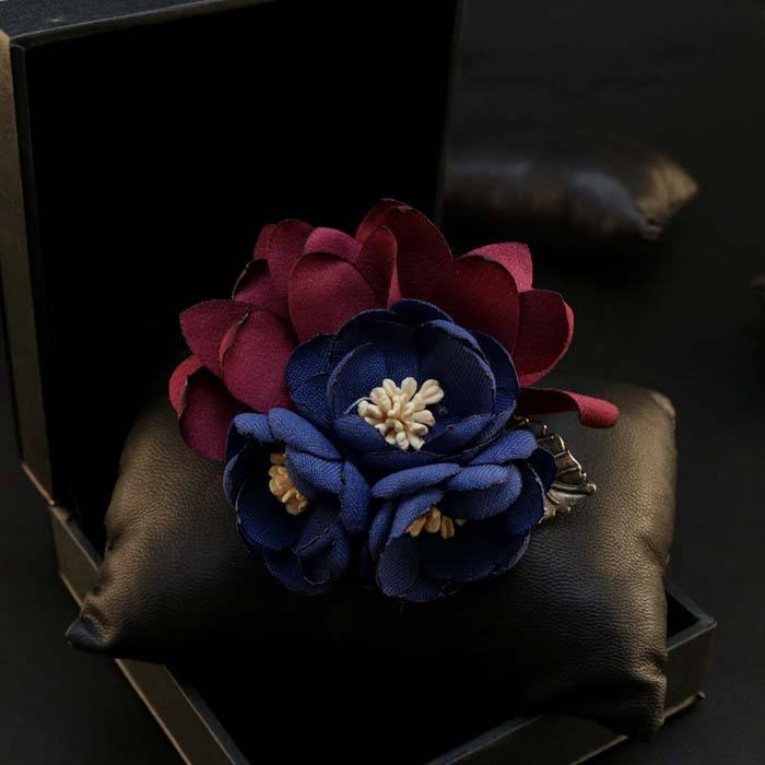 Dark Blue Lapel Flower Clip - Bowties - 1