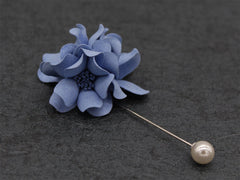Sophisticated Purplish Blue Lapel Flower - Bowties - 3
