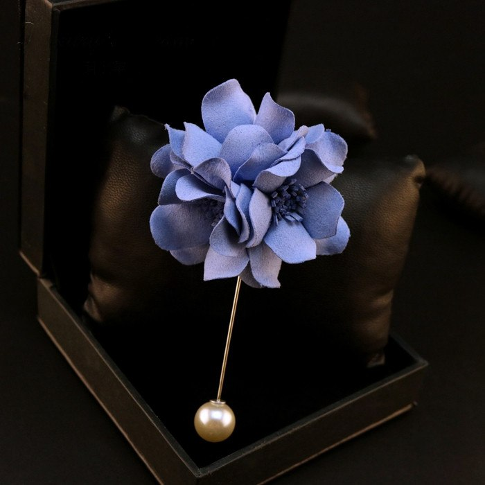 Sophisticated Purplish Blue Lapel Flower - Bowties - 1