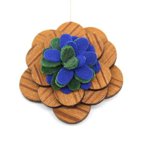 Blue Green Wooden Lapel Pin