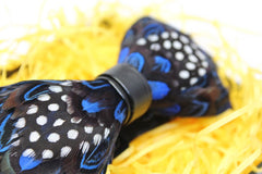 Blue Polka Dot Feather Bow Tie - Bowties - 2