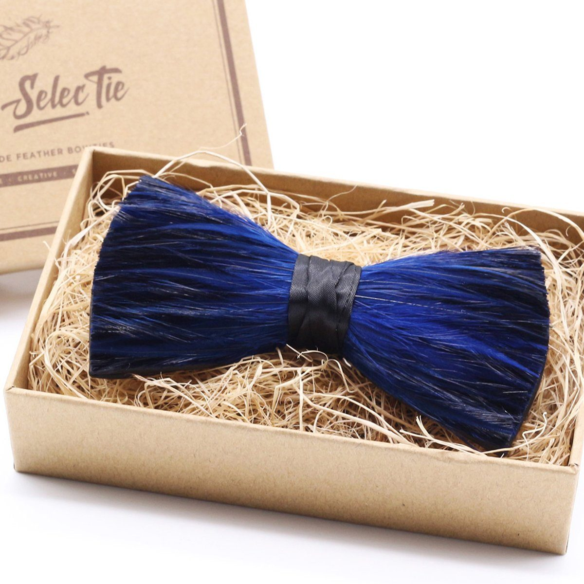 Blue Tuxedo Feather Bow Tie