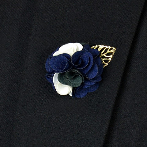 Blue White Lapel Flower - Bowties - 1