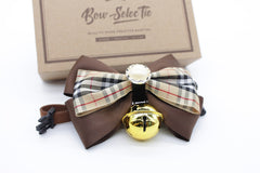 Brown Color Cat & Dog Bow Tie Collar