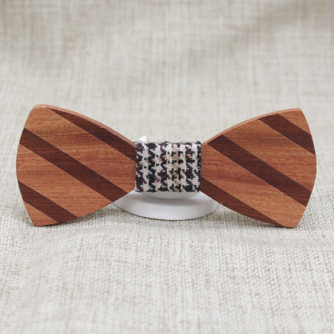 Brown Striped Wooden Bow Tie - Bowties - 1