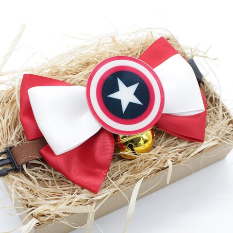Captain America Cat & Dog Bow Tie Collar