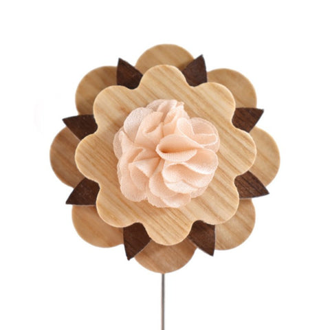Champagne Wooden Lapel Pin
