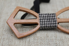 Checked Cross Wooden Bow Tie - Bowties - 3