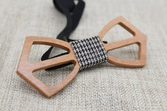 Checked Cross Wooden Bow Tie - Bowties - 5