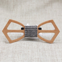Checked Cross Wooden Bow Tie - Bowties - 1