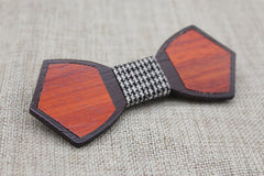 Checked Dark Outline Wood Bow Tie