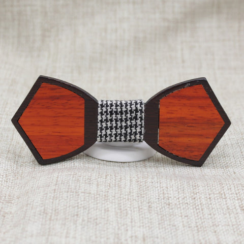 Checked Dark Outline Wood Bow Tie - Bowties - 1