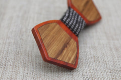 Checked Outline Wood Bow Tie - Bowties - 2