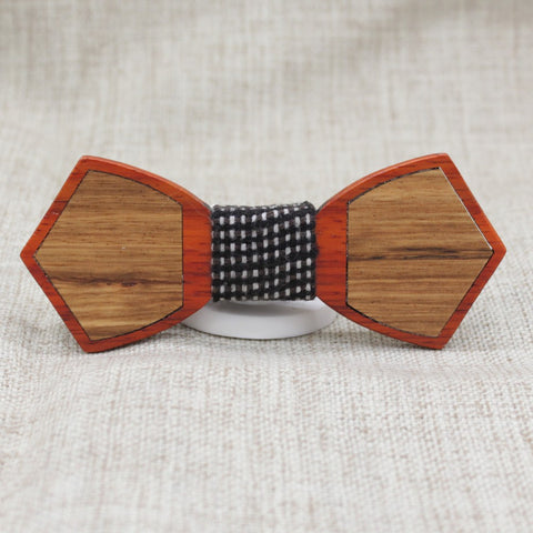 Checked Outline Wood Bow Tie - Bowties - 1
