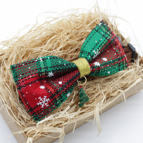 Christmas Tree Cat & Dog Bow Tie Collar