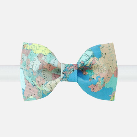 Colorful World Map Bow Tie