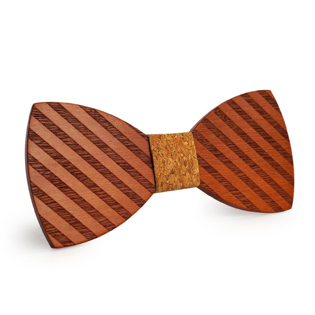 Cork Broad Striped Wooden Bow Tie