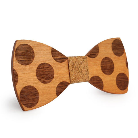 Cork Polka Dots Wooden Bow Tie