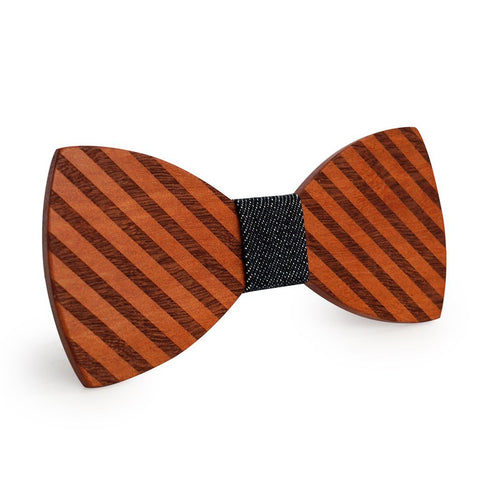 Dark Broad Striped Wooden Bow Tie