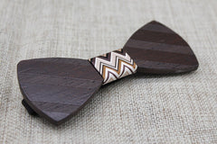 Dark Brown Striped Wooden Bow Tie - Bowties - 3