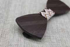 Dark Brown Striped Wooden Bow Tie - Bowties - 2