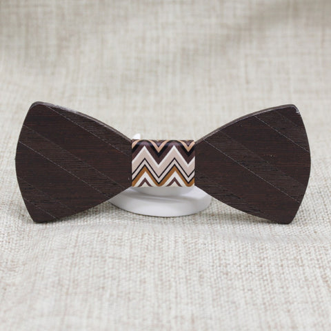Dark Brown Striped Wooden Bow Tie - Bowties - 1