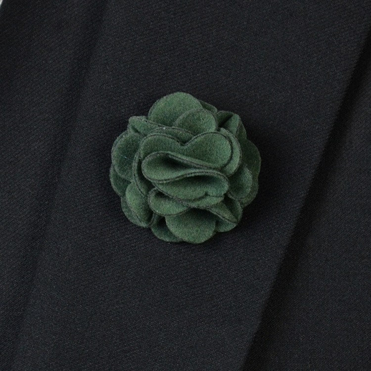 Green Flannel Lapel Pin Flower - Bowties - 1