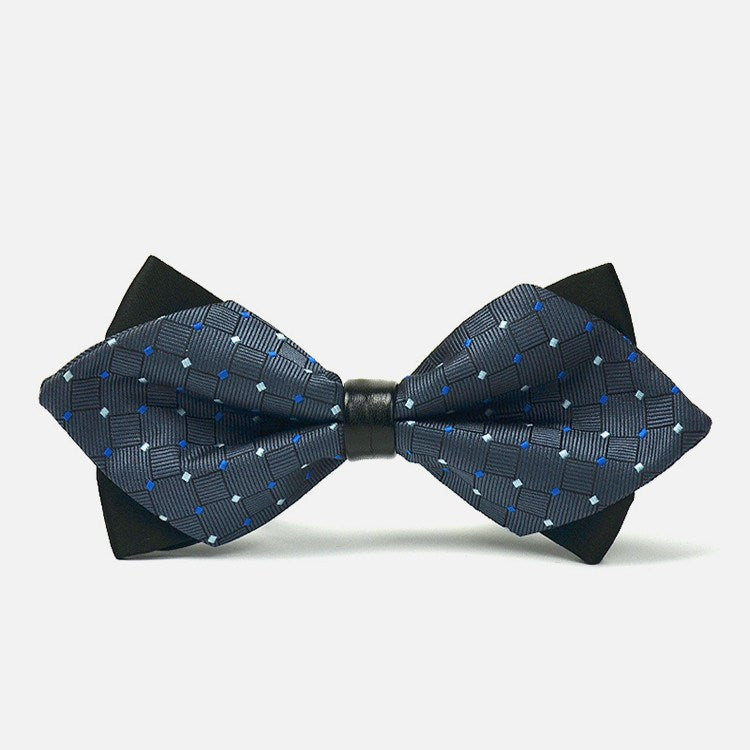 Dark Grey Diamond Polka Bowtie - Bowties