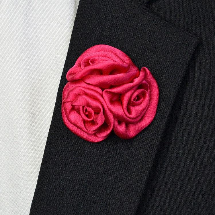 Satin Lapel Pin Dark Pink - Bowties - 1