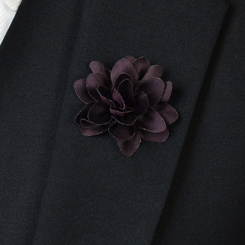 Dark Purple Flower Lapel Pin - Bowties - 1