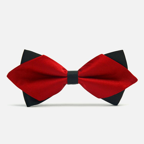 Dark Red Diamond-Tip Tuxedo Bow Tie - Bowties