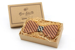 Double Broad Striped Wooden Bow Tie