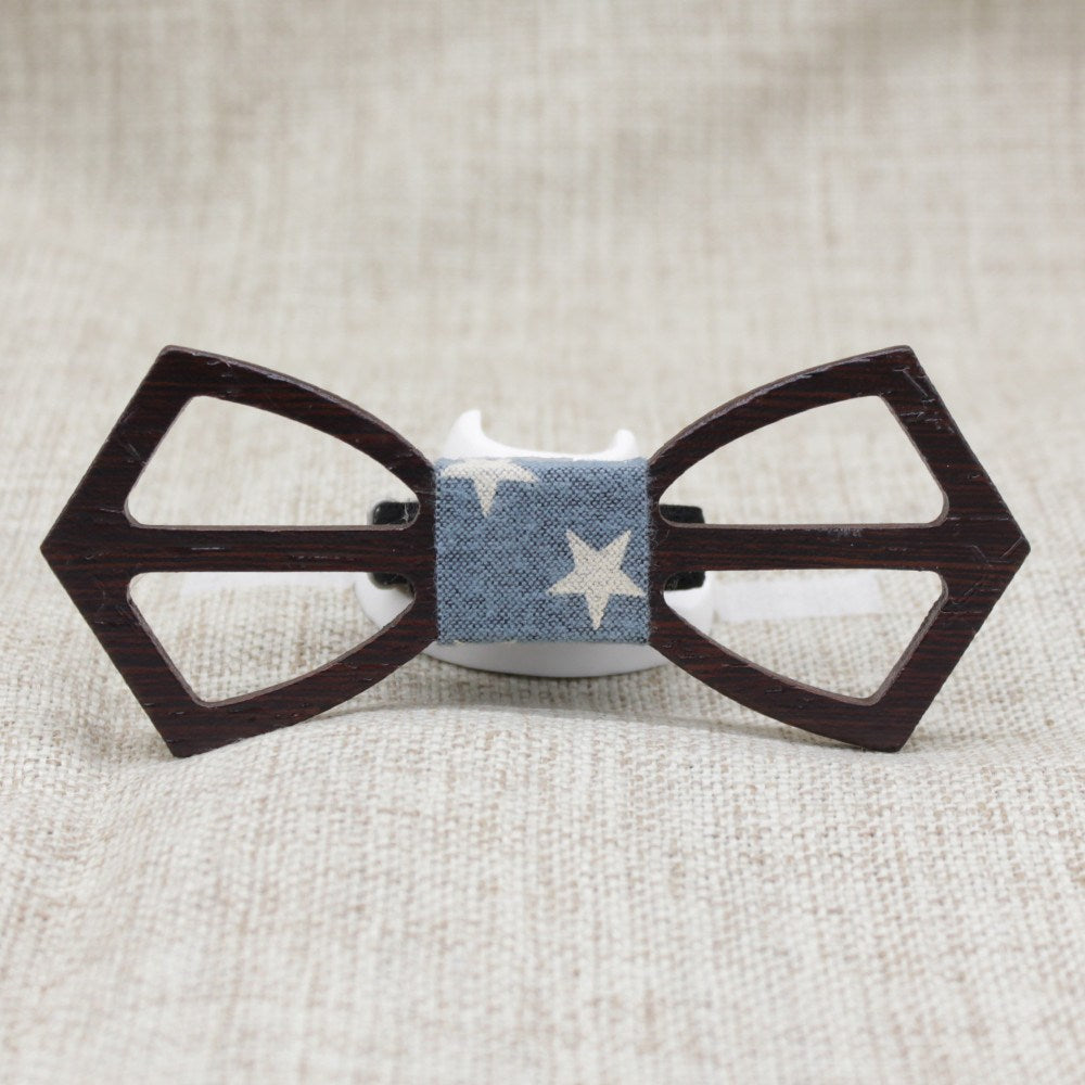 Ebony Cross Wooden Bow Tie - Bowties - 1