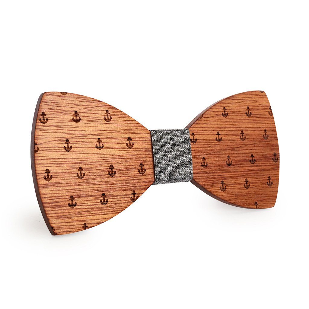 Grey Anchor Wooden Bow Tie