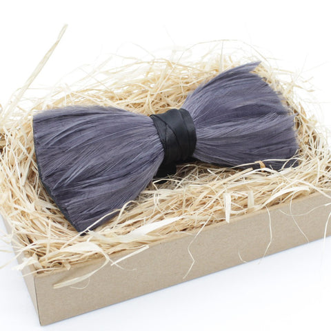 Grey Tuxedo Feather Bow Tie