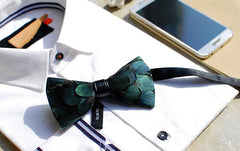 Green Feather Bow Tie - Bowties - 3