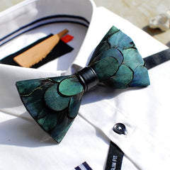 Green Feather Bow Tie - Bowties - 1