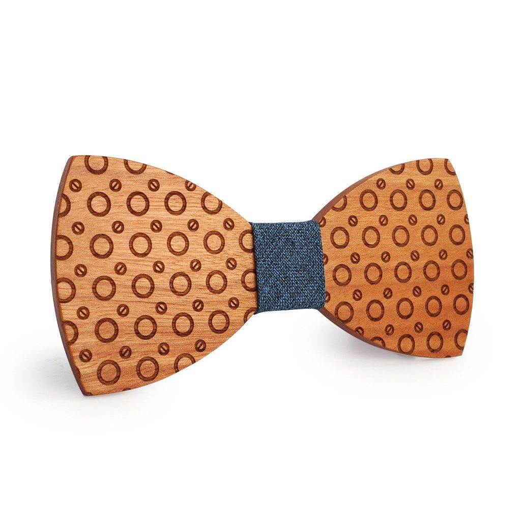 Grey Dotted Wooden Bow Tie