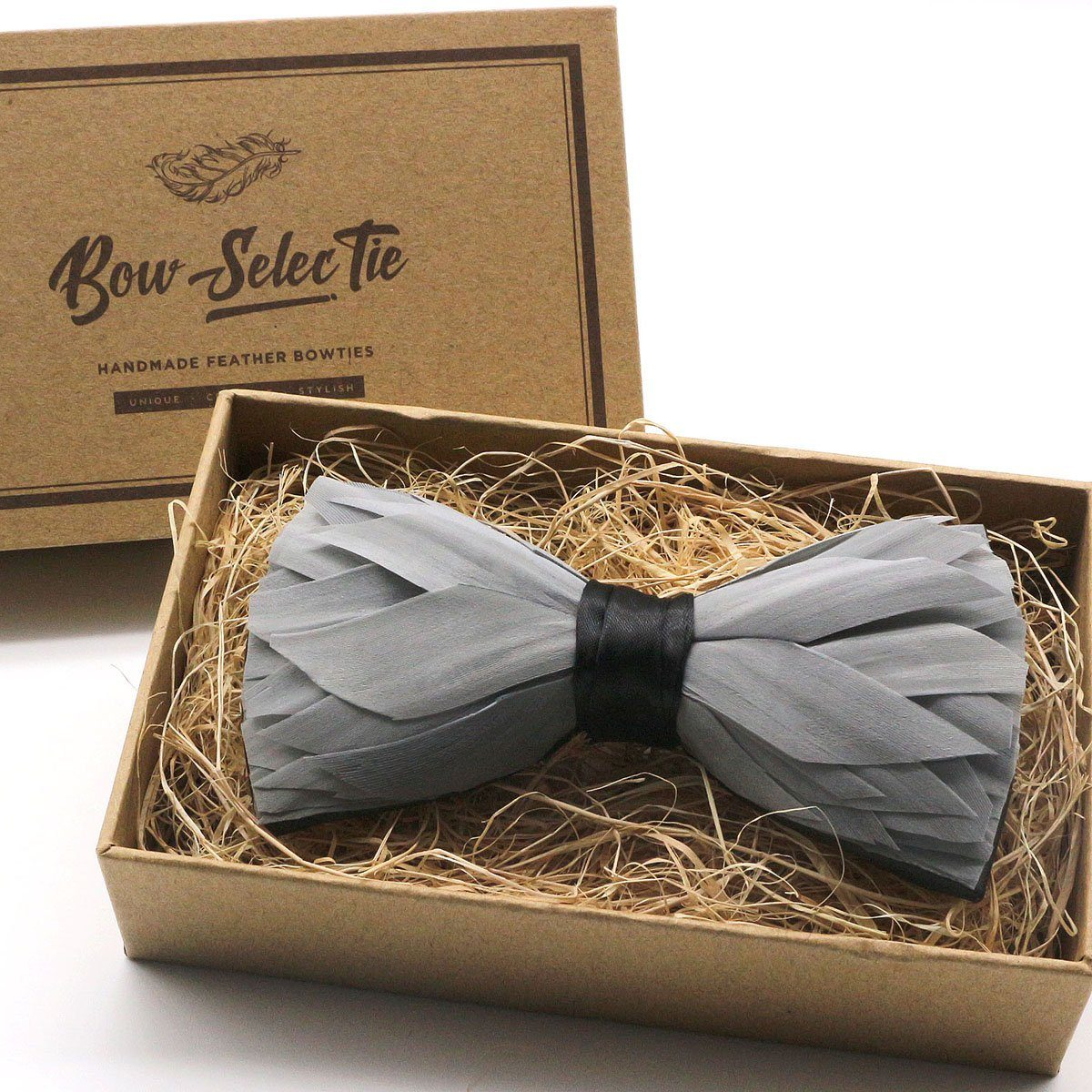 Grey Premium Feather Bow Tie