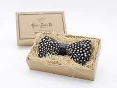 Polka Dotted Guinea Fowl Feather Bow Tie